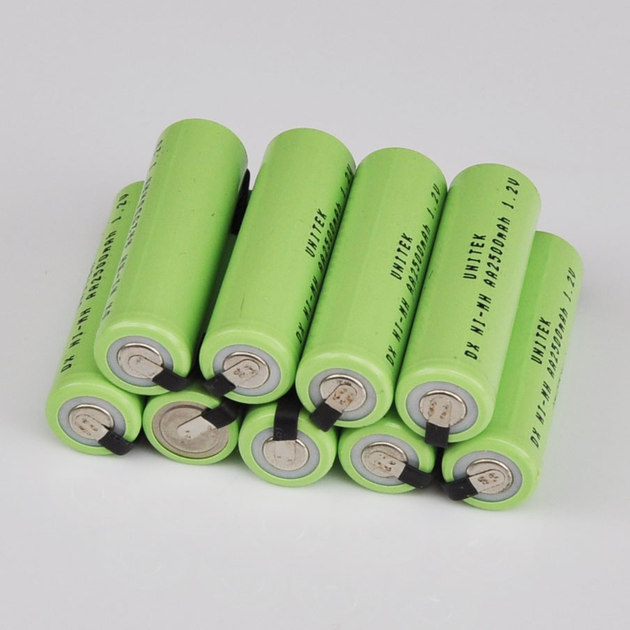 10PCS Ni-Mh 1.2V AA rechargeable battery 2500mah nimh cell with welding tabs for Philips Braun electric shaver razor toothbrush image