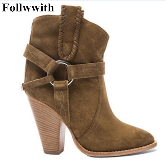 Hot Andrew Women Boots Shoes Woman Spike High Heel Ankle Boots Slip On Suede Leather Botas Patchwork Autumn Winter Wedges Boots basic editions women dark grey suede leather spike high heel chain accessories winter long boots 1105 1422 aj91