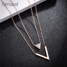 Simple Triangular Zircon Layered Necklace Rose Gold Titanium Steel V Letter Pendant Necklaces For Women