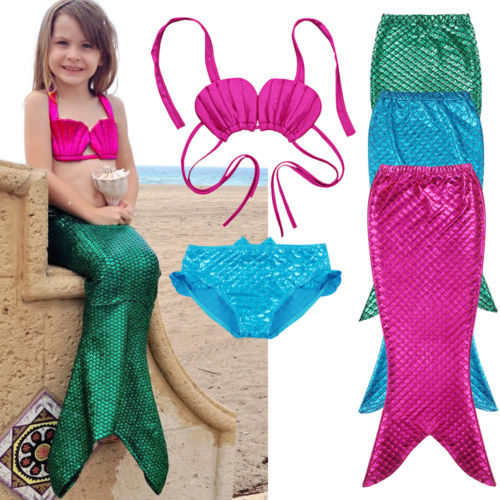 3PCS Dívka Dívka Mermaid Tail Swimmable Bikini Set Koupelnový kostým Fancy Costume 3-9Y