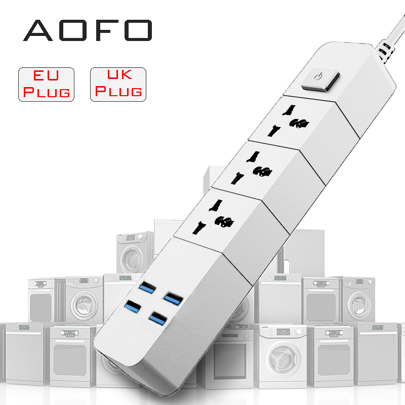 Power Strips with 3 Outlets ports 4 USB Ports Surge Protection Universal Socket with1.8 Extension cord Charger