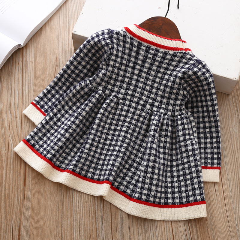 2020 Autumn Winter Baby Long Sleeve Plaid Sweater Dress For Baby Girls 1 Year Birthday Dress Infant Baby Wedding and Party Dress 2