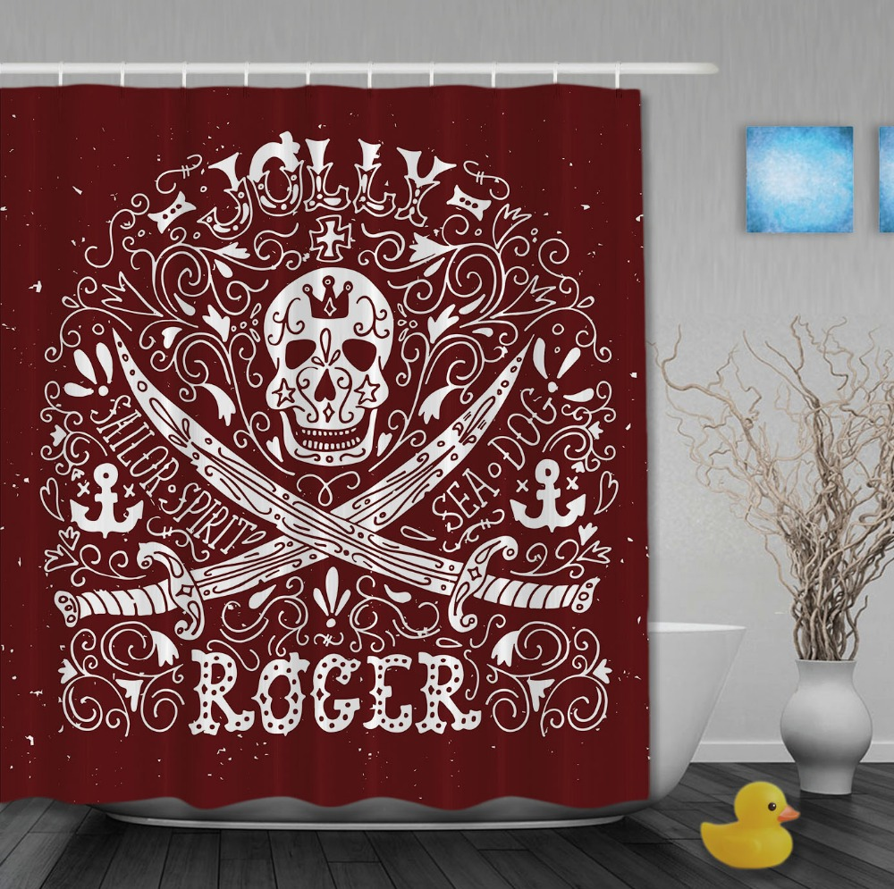 Pirate shower curtain - Pirate Style Jolly Roger With Retro Pattern Custom Shower Curtains Waterproof Fabric High Quality Bathroom Curtain