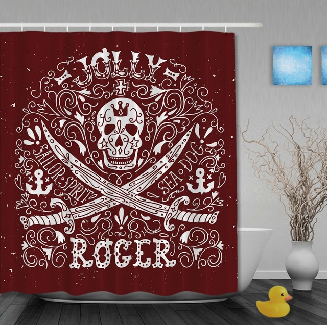 Marvelous Pirate Style Jolly Roger With Retro Pattern Custom Shower Curtains  Waterproof Fabric High Quality Bathroom Curtain