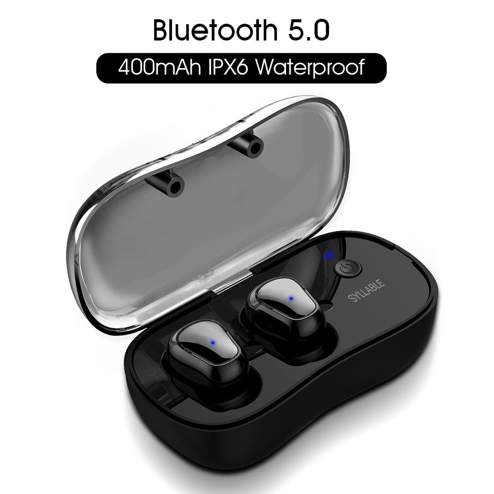 SILLABA D900P TWS Bluetooth V5.0 Comunicazione Portatile Vero Stereo Senza Fili del Trasduttore Auricolare per il Telefono HD Auricolari Cuffia Impermeabile