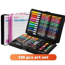 109 pcs Art Set Kit Ferramenta Caneta Pincel de Aquarela do Artista Marcador Arte Conjunto de Pintura Para Crianças Caixa de Presentes Brinquedos de Desenho fontes da arte