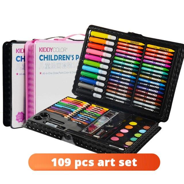 109 stücke Kunst Set Aquarell Pinsel Stift Künstler Werkzeug Kit Kunst Marker Malerei Set Für Kinder Geschenke Box Zeichnung Spielzeug kunst Liefert