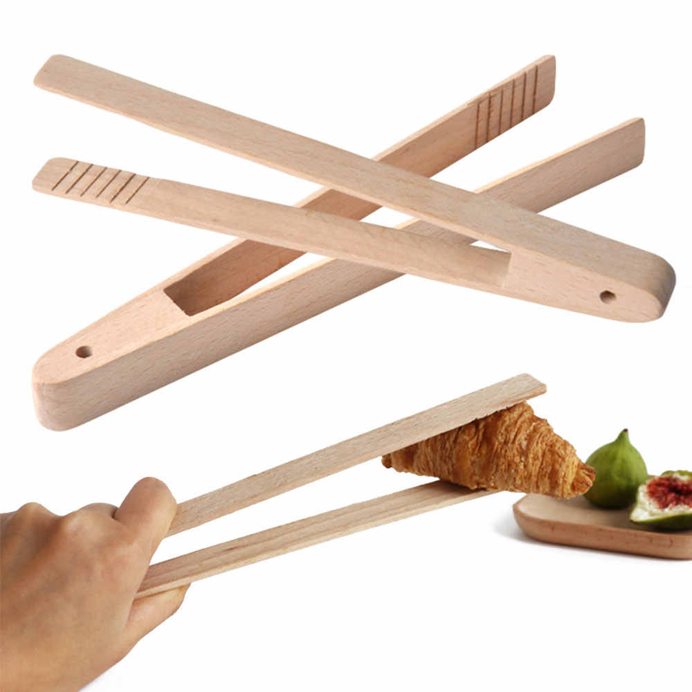 Useful Craft Bamboo Tool Toaster Wooden Food Salad Cooking Toast Bread Tongs