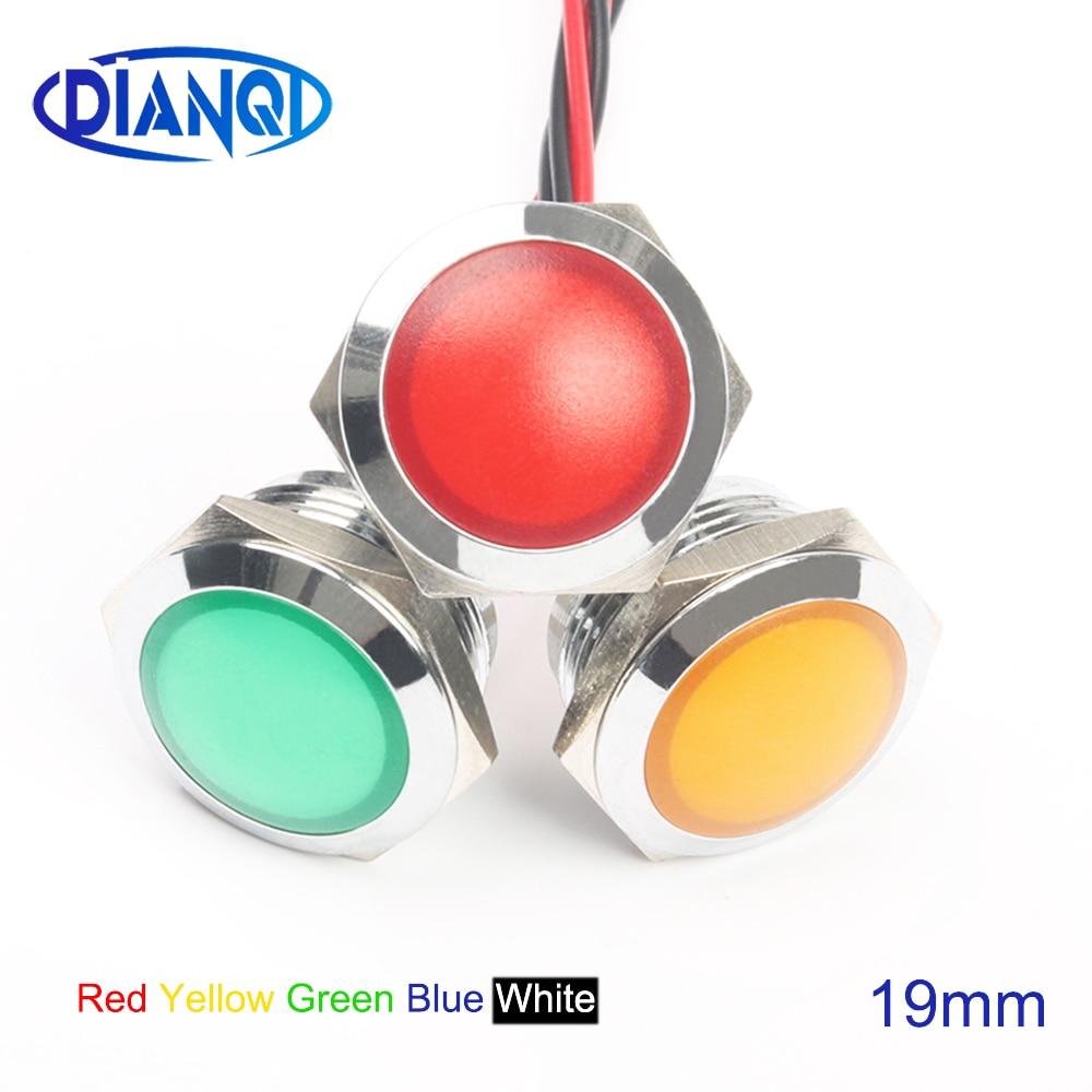 LED Metal Indicator Light 19mm Waterproof Signal Lamp LIGHT 3V 6V 12V 24V 220v Screw Connect Red Yellow Blue White 19ZSD.QX.X
