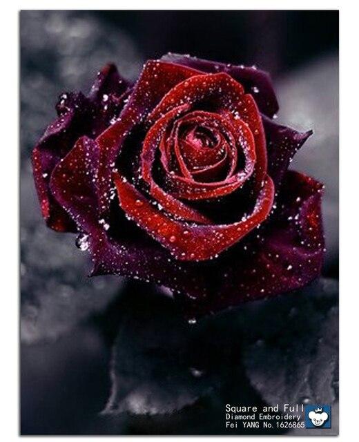 leinwand stoff blumen rote rosen bilder der diamanten stickerei hand diy diamant malerei quadrat. Black Bedroom Furniture Sets. Home Design Ideas