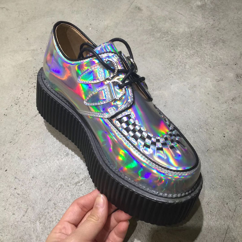 Ayakk.'ten Kadın Topuksuz Ayakkabı'de Rahat Harajuku bayan ayakkabıları rahat Creepers platform ayakkabılar moda hakiki deri gümüş dantel Up düz ayakkabı'da  Grup 1