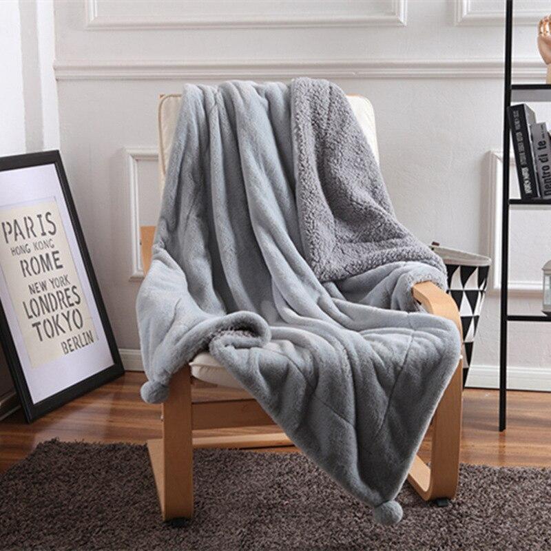 Lapin fourrure agneau polaire couvertures boules Chunky tricot couverture vs rose literie jeter couverture épaisse chaude canapé couverture pour canapé voiture
