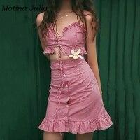 Motina Julia 2019 summer red plaid two piece set dress lace up ruffle dress pretty strap mini dress sundress