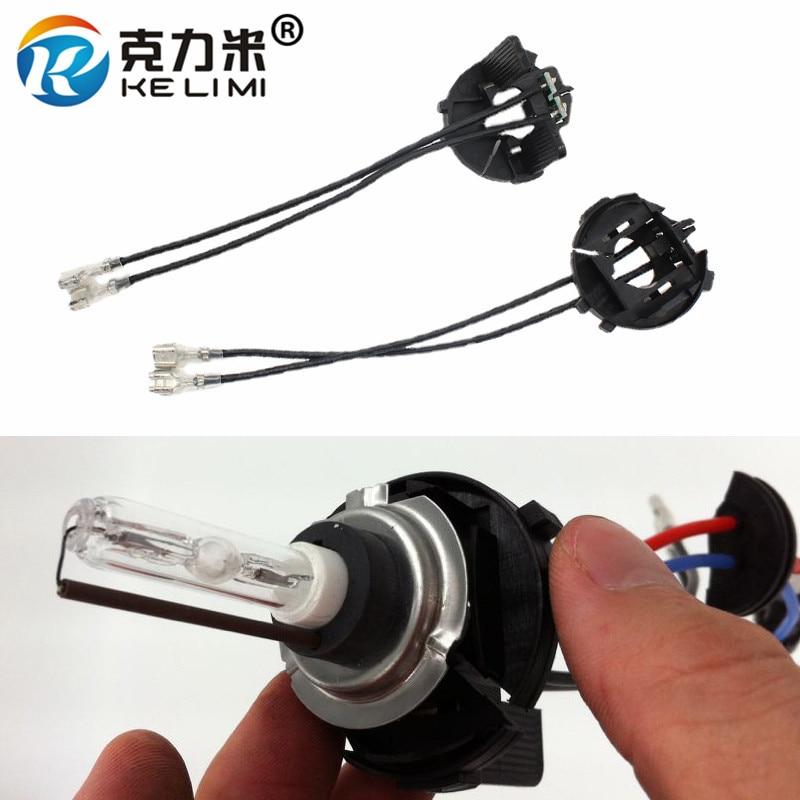KELIMI 2 Pieces Xenon H7 HID Light Bulbs Conversion Holder Adaptor Base Adapters For Volkswagen Tiguan/Golf 6 7/Touran