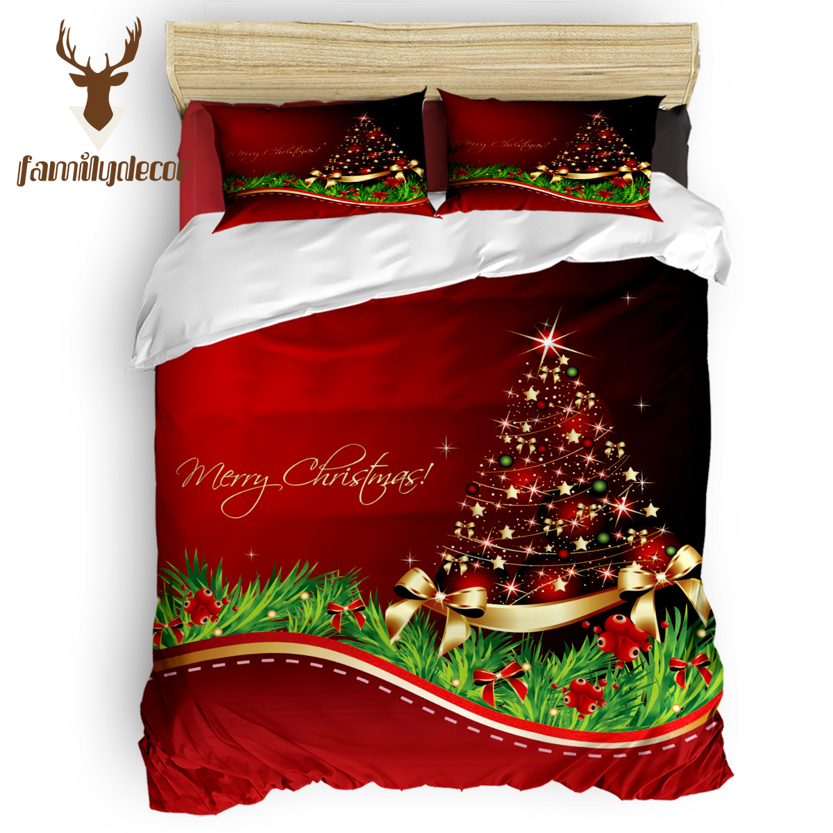 Family Decor Merry Christmas Tree 4 Pcs Comforter Cover Set Eve Of All Saint's Day 4 Piece Bedding Sets April Fool's Day Living