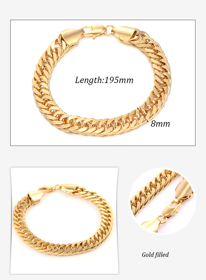 Fashion Jewelry Men's Gold Color Chain Bracelet With Gold Color 8mm 19cm 8