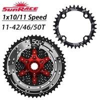 WUZEI Bicycle Chainring 32T / 34T / 36T / 38T + SunRace Cassette 42T / 46T / 50T 10 / 11 Speed Freewheel Big Cassette kit
