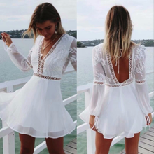 ZOGAA V Neck Sexy Lace Summer Dress Women Long Sleeve Casual White Dress Female Hollow Out Backless Midi Beach Vestidos 2019 sexy white lace summer dress women perspective long sleeve v neck beach party dresses elegant club midi dress hollow vestidos hl