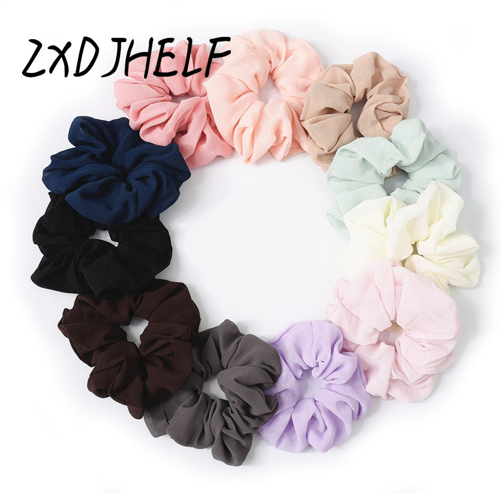 ZXDJHELF Fashion Simple Women Chiffon Elastic Hair Band Female Cute Headwear Scrunchies Horsetail Solid Hair Accessories F091