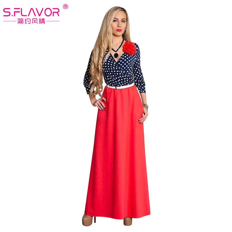 S. вкус Брендовые женские Длинное платье осень 2017 г. женщин винтажном стиле Vestidos Женщины v-образным вырезом Длинные рукава в горошек лоскутное платье без пояса