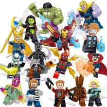 Para Playmobil Venom Spiderman Super Heróis Homem De Ferro Thor Loki Deadpool Batman Vingador Hulk Aranha mini Toy Building Block Figura(China)