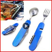 Juego de vajilla plegable cuchara tenedor cuchillo portátil viaje al aire libre senderismo bolsillo acero inoxidable