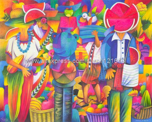 Oil On Canvas Painting People Of The Market Handmade Guatemala Paintings Wholesale High Quality