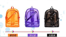 On sale!2ps Fluorescent Color Transparent Student Casual bag Fashion PVC Candy Jelly Backpack 5 colors