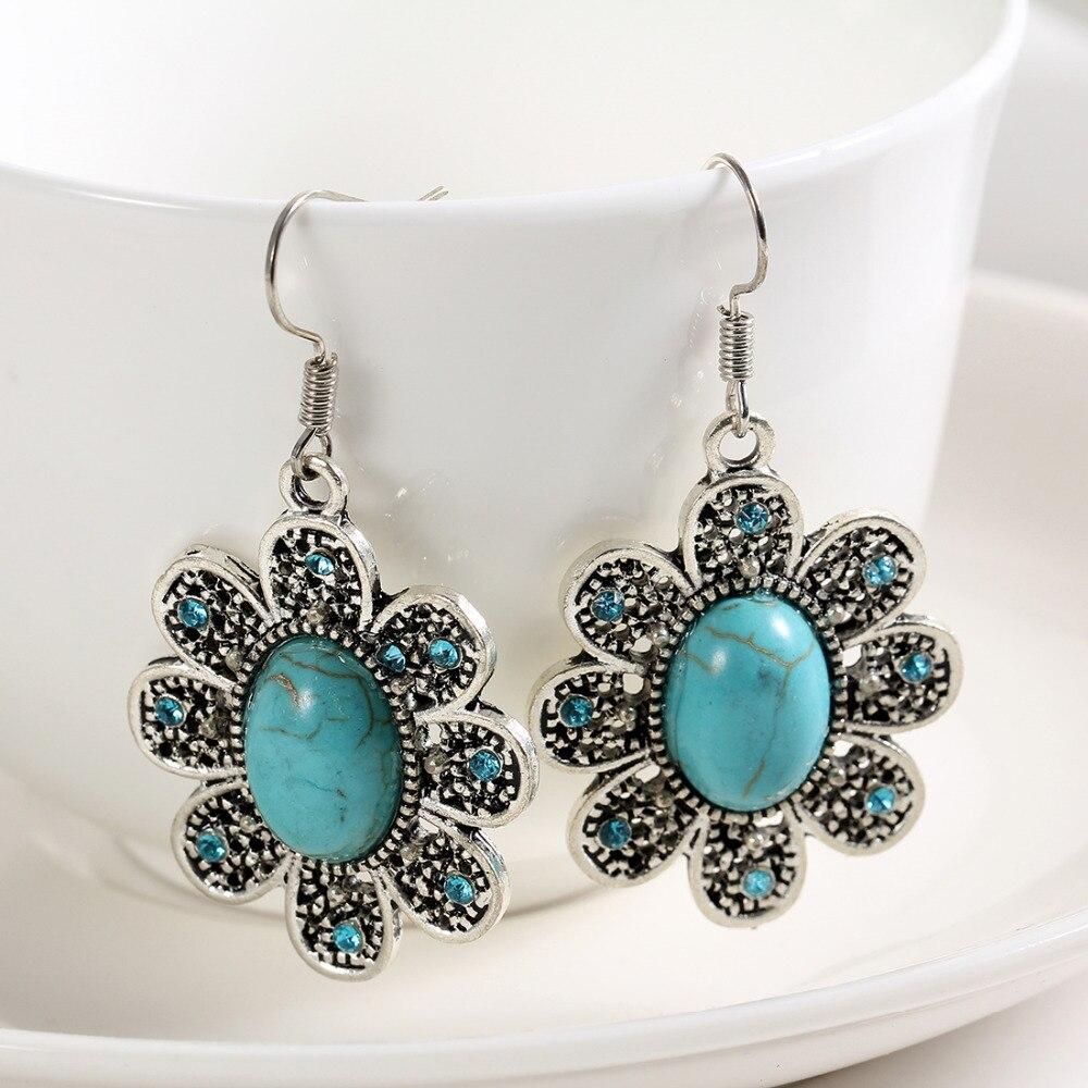 Blue Stone Flower Earrings