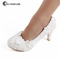 White Lace Flower Wedding Shoes winter Pearl High Handmade Bride Wedding Shoes Bridesmaid Shoes Free Shipping Party size 41 48