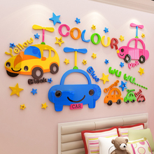 Creative INS Cartoon car DIY Children's room bedroom home living room TV background wall decoration 3D acrylic wall stickers creative ins cartoon car diy children s room bedroom home living room tv background wall decoration 3d acrylic wall stickers