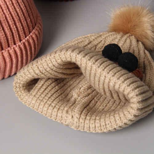 New Cartoon Bear Wool Knit Hat Kid Baby Child Warm Winter Knitted Beanie Fur Pom Hat Crochet Ski Cap Winter Outdoor Toddler Hat