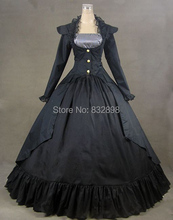 Free DHL Shipping  Black Gothic Victorian Cotton Satin Ball Gown Dress/Princess gowns/Rococo and Carnivale gowns