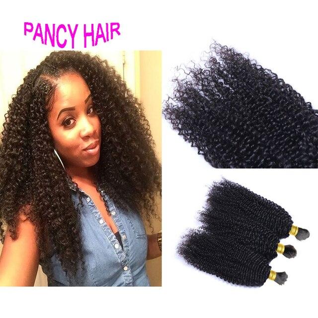 4a 4b Afro Curly Braiding Hair Bulk 3bundles Lot For