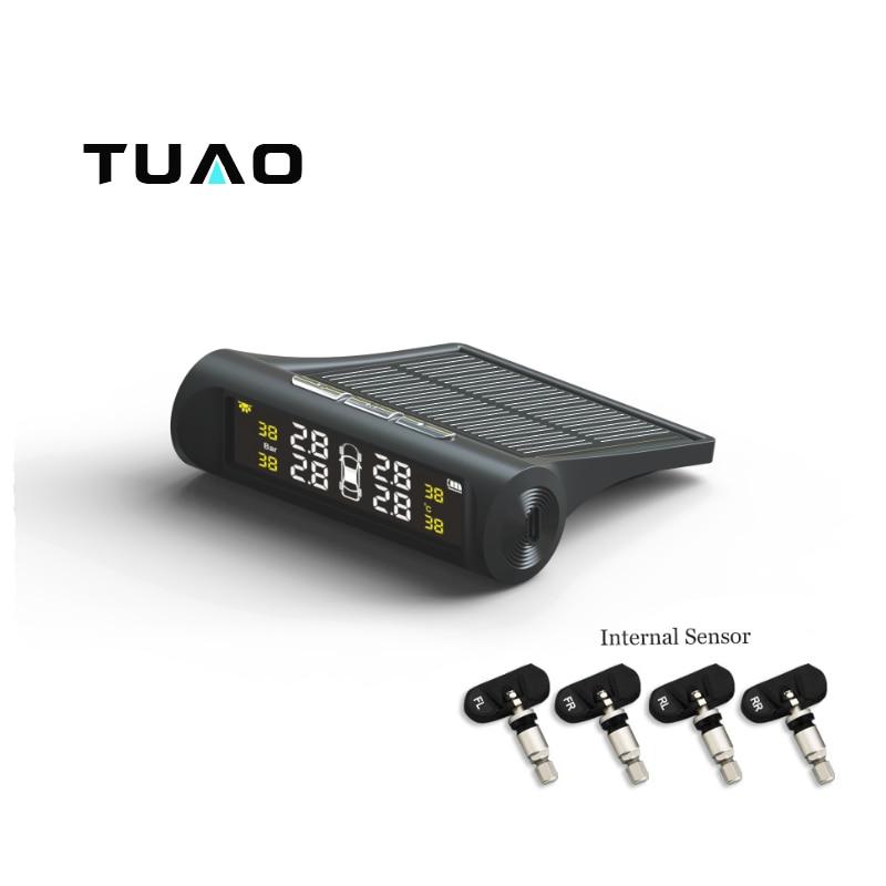 TUAO TPMS Car Tire Pressure Monitoring System Solar Energy LCD Color Display 4 Internal Sensor Auto