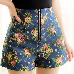 Os recém-chegados de verão mais mulheres do tamanho floral shorts de cintura alta shorts soltos