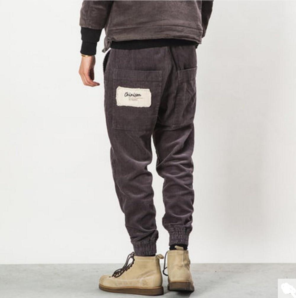 Uomini autunno e in inverno di colore solido di modo breve tutto fiammifero allentato casuale pantaloni di velluto a coste maschio harem d'epoca pantaloni fascio pantaloni! - 4