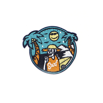 Summer Travel Sea Beach Skull Embroidery Patch Iron On Patches For Clothes DIY Accessory Bag Applique Armband Book Stickers S33