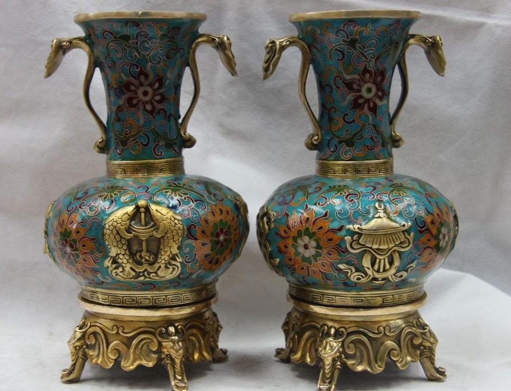 11 China Bronze Copper Cloisonne Ruyi Eight treasures Pot Flask Bottle Vase Pair 8.02 chinese palace pure bronze copper auspicious dragon phoenix pot bottle vase pair