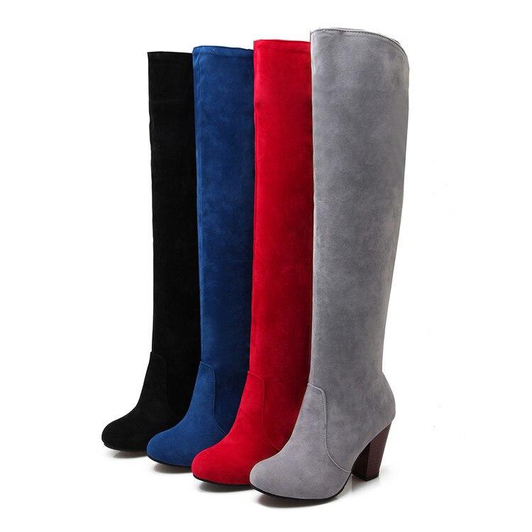 Suela Gruesa Negro 34 La 5049 Grande Delgada rojo Mujer Rodilla gris azul Invierno Otoño Sobre 2017 Color Largo 43brand Tamaño Botas Patch Diseño xp7wvO