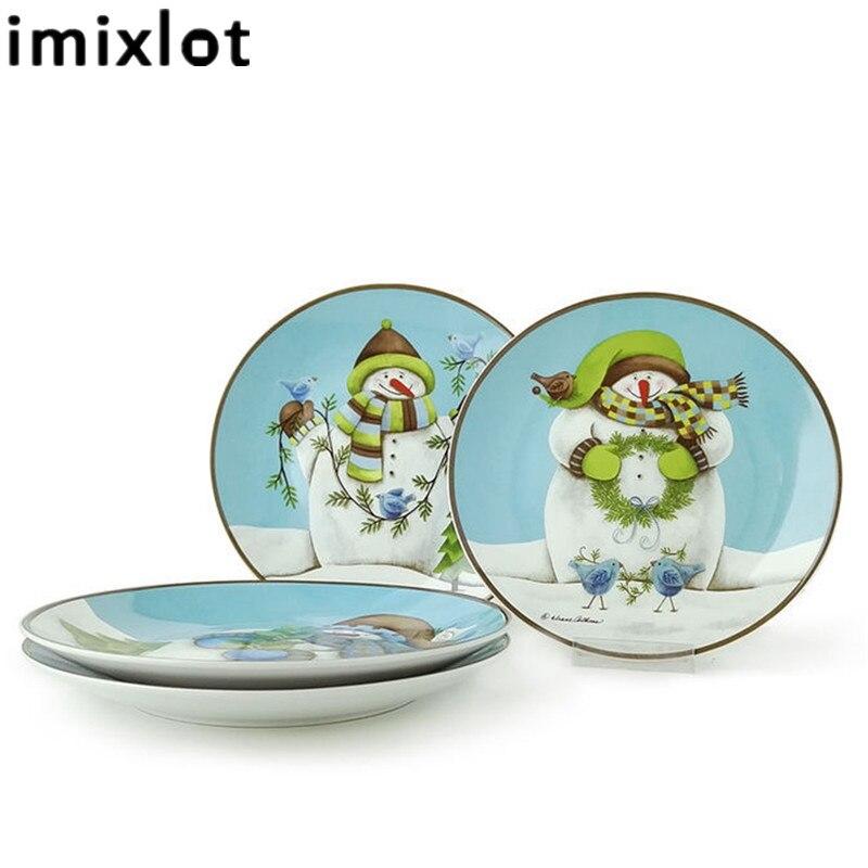 Imixlot Anime Cartoon Santa Claus En Céramique Plat Western Vaisselle Plaque Creative Assiette À Dessert De Noël Parti Home Decor
