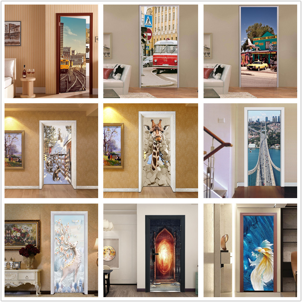DIY Retro Bus Cars Door Sticker Self-adhesive PVC Wallpaper For Bedroom Living Room Mural Renovation Home Decoration Accessories