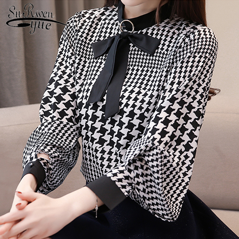 Fashion women   blouses   2019 new long sleeve plus size print chiffon   blouse     shirt   bow collar office work   blouse   women tops 2710 50