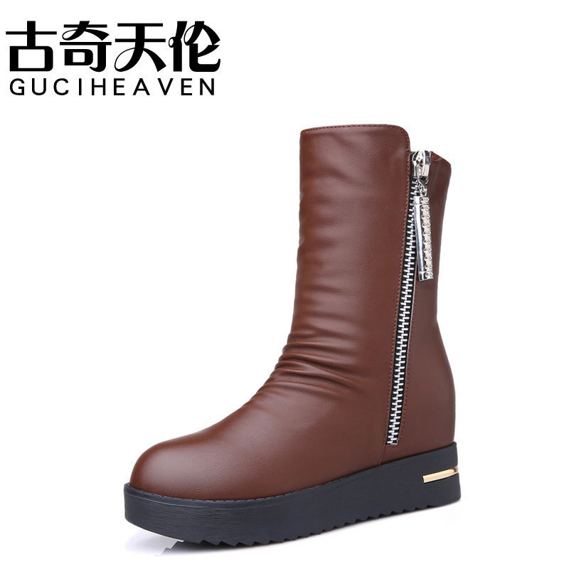 Guciheaven 8535 Soft Leather Cool Women Motorcycle Boots,Round Toe Slip-on Footwear Ladies Heel Boots,Platform Thick Heel Pumps nayiduyun women genuine leather wedge high heel pumps platform creepers round toe slip on casual shoes boots wedge sneakers