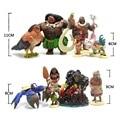 10Pcs /set Moana Princess Presale 2017 New Moana Maui Waialik Heihei Pua Action Figures Toy Decoration Gift 6-10cm Moana Toys