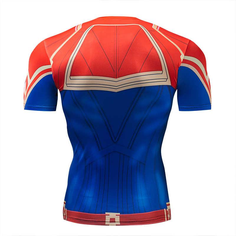 3D Марвел Капитан футболка Косплей Марвел Капитан Carol Danvers костюмы для женщин и мужчин супергерой Спорт облегающие футболки топы тренажерные залы одежда