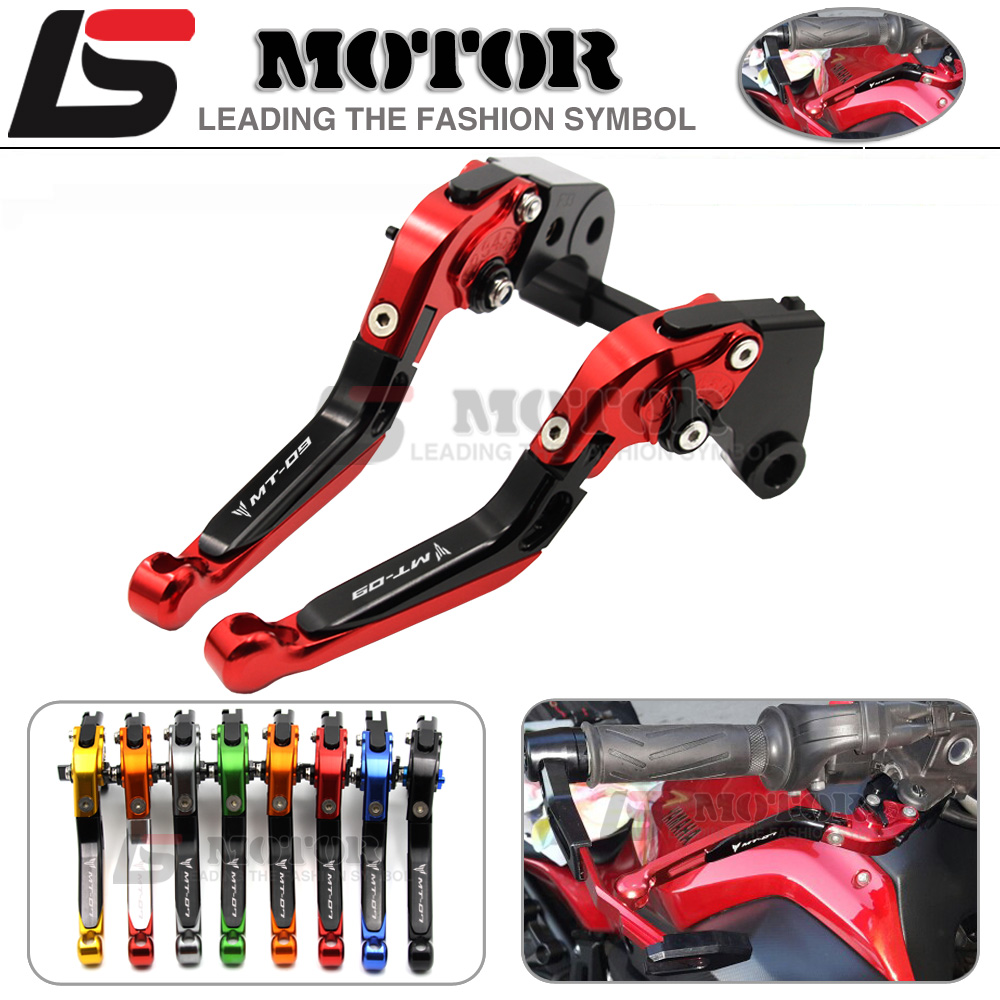 ФОТО For YAMAHA MT-09 MT09 Tracer 2014-2015 Motorcycle Adjustable Folding Extendable Brake Clutch Levers logo MT-09 5 colors