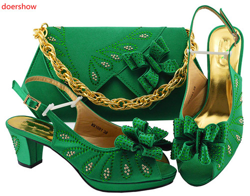 doershow Italian matching dark green shoe and bag set african wedding shoe and bag sets! SXF1 4