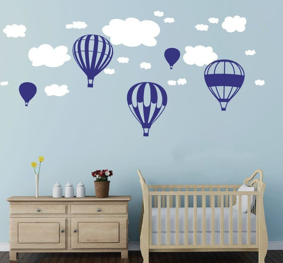 Hot air balloons clouds wall stickers nursery baby room for Baby room decoration wall stickers