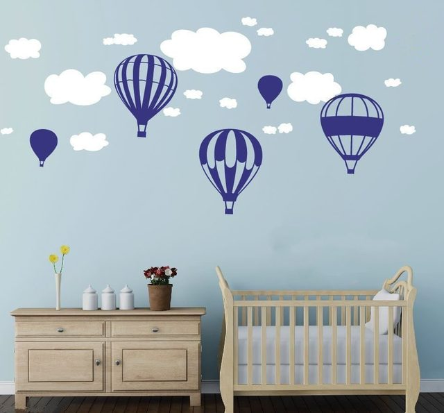 Hot Air Balloons Clouds Wall Stickers Nursery Baby Room Wall Vinyl Decor  Decoration